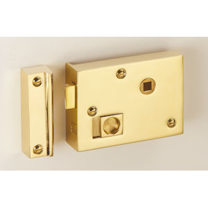 "#07 - 4"" Solid Brass Privacy Rim Door Lock"