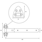 "#01 - 18"" Reversible Garage Door Strap Hinge"