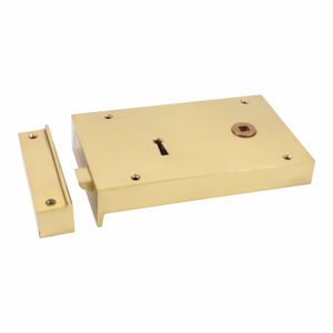 "#13 - 6"" Solid Brass Rim Door Lock"