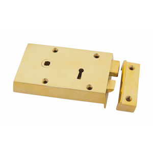 "#07 - 5.5"" Solid Brass Rim Door Lock"