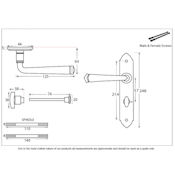 #19 - Gothic Lever Door Handle on Bathroom Privacy Lock Backplate