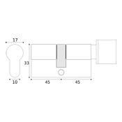 #16 - 45mm/45mm Euro Profile Key & Thumbturn Cylinder KA