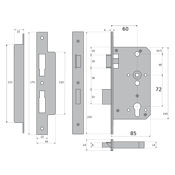 #11 - 85mm Euro Profile Cylinder Escape Sashlock