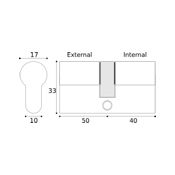 #10 - 50mm/40mm Off-Set Euro Profile Double Cylinder