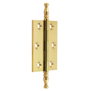 "#14 - 2.5"" Solid Brass Cabinet Finial Butt Hinge"