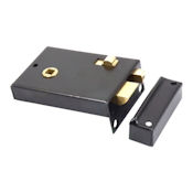 "#01 - 1209 4"" Plain Steel Privacy Rim Door Lock"