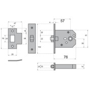 "#10 - 3"" Roller Bolt Mortice Door Latch"