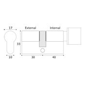#17 - 30mm/40mm Off-Set Euro Profile Key & Thumbturn Cylinder KA