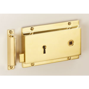 "#14 - 6"" Solid Brass Rim Door Lock"