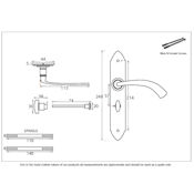 #20 - Gothic Curved Lever Door Handle on Bathroom Privacy Lock Backplate